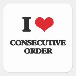 Amo orden consecutiva pegatina cuadrada