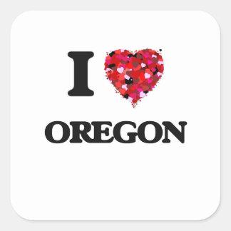 Amo Oregon Pegatina Cuadrada