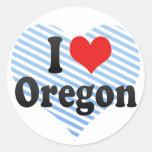 Amo Oregon Pegatina Redonda