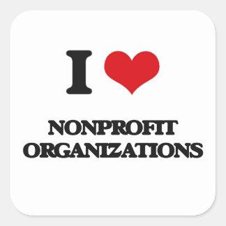 Amo organizaciones sin ánimo de lucro pegatina cuadrada