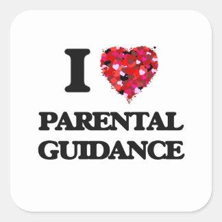 Amo orientación para padres pegatina cuadrada