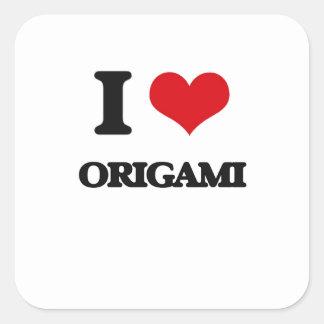 Amo Origami Pegatinas Cuadradases