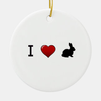 """""""Amo ornamento de los conejos"""" Adorno Redondo De Cerámica"""