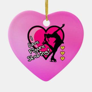 Amo ornamento del patinaje artístico - corazón ornamento de reyes magos