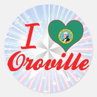 Amo Oroville, Washington Pegatina Redonda