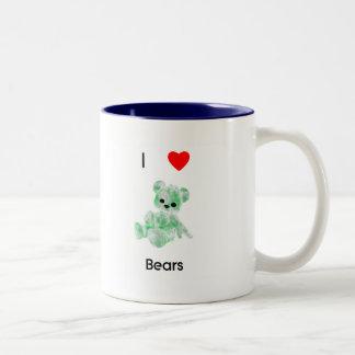 Amo osos (2) taza de dos tonos