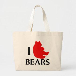 Amo osos bolsa tela grande