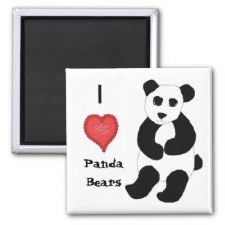 Amo osos de panda iman de frigorífico
