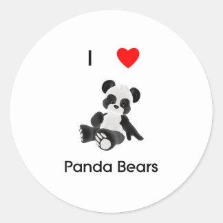 Amo osos de panda pegatina redonda