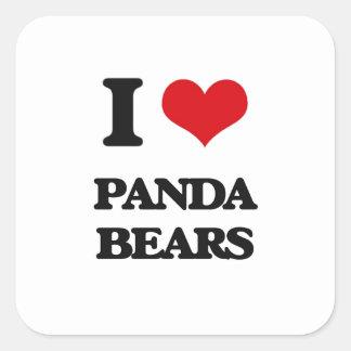 Amo osos de panda pegatina cuadrada