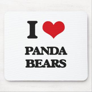 Amo osos de panda tapete de ratón