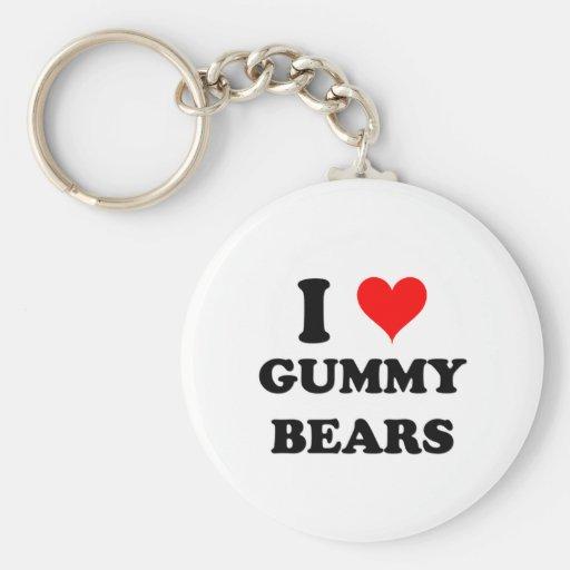 Amo osos gomosos llavero redondo tipo pin