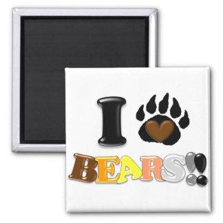 Amo osos imán cuadrado