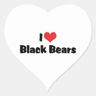 Amo osos negros pegatina en forma de corazón