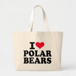 Amo osos polares bolsa tela grande
