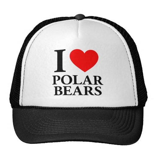 Amo osos polares gorros bordados
