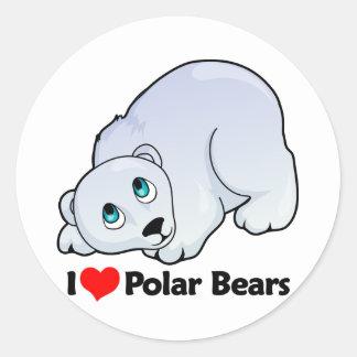Amo osos polares pegatinas redondas