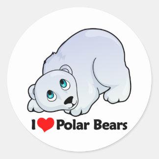 Amo osos polares etiqueta redonda