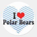 Amo osos polares pegatina redonda