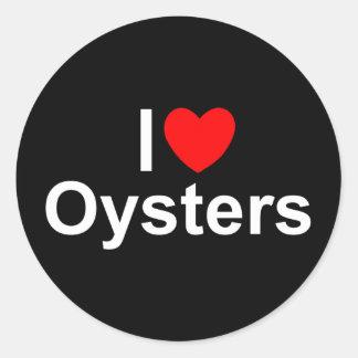 Amo ostras (del corazón) pegatina redonda