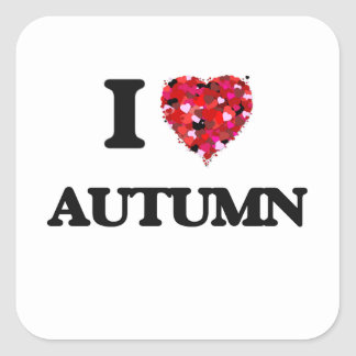 Amo otoño pegatina cuadrada