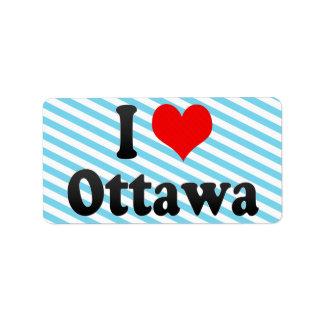 Amo Ottawa, Canadá Etiquetas De Dirección