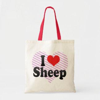 Amo ovejas bolsas lienzo