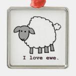 Amo ovejas de la oveja adorno cuadrado plateado