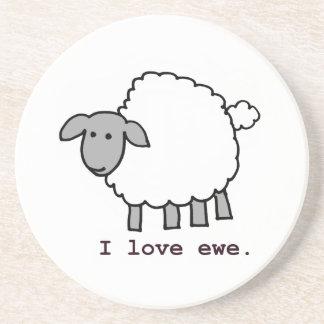 Amo ovejas de la oveja posavasos personalizados