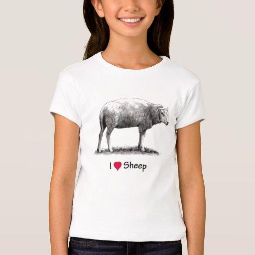 Amo ovejas (del corazón):  Ovejas en lápiz Playera