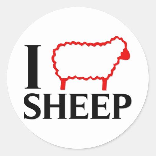 Amo ovejas etiqueta redonda