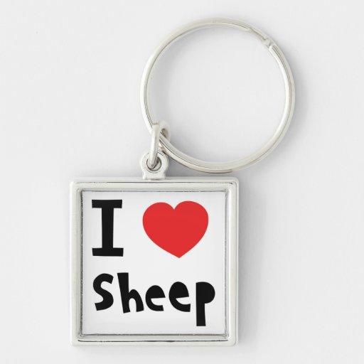 Amo ovejas llavero cuadrado plateado