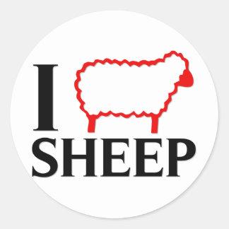 Amo ovejas pegatina redonda