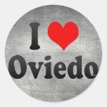 Amo Oviedo, España Pegatina Redonda