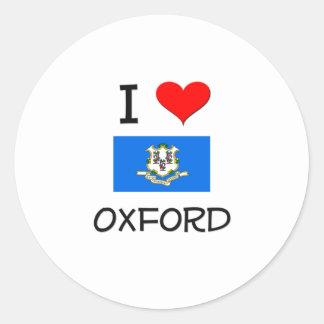 Amo Oxford Connecticut Pegatina Redonda