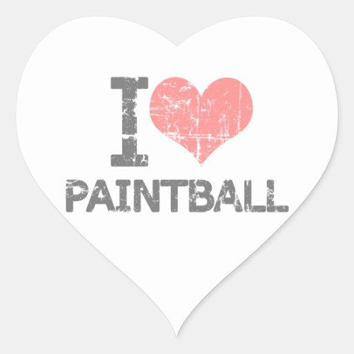 Amo Paintball Calcomanía De Corazón