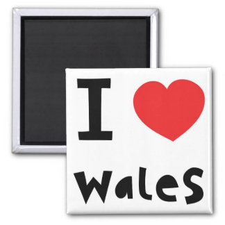 Amo País de Gales Imán Cuadrado