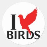Amo pájaros etiquetas redondas