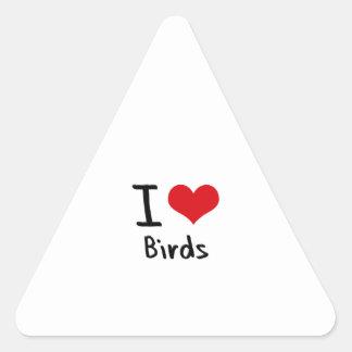 Amo pájaros pegatina triangular