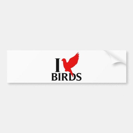 Amo pájaros pegatina de parachoque