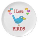 Amo pájaros plato de cena