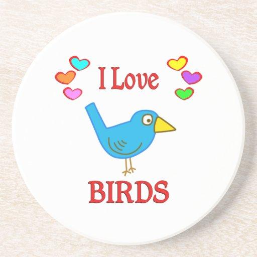 Amo pájaros posavasos para bebidas