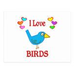 Amo pájaros postal