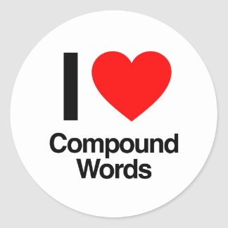 amo palabras compuestas pegatina redonda