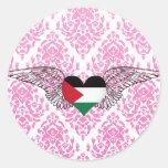 Amo Palestina - alas Pegatina Redonda