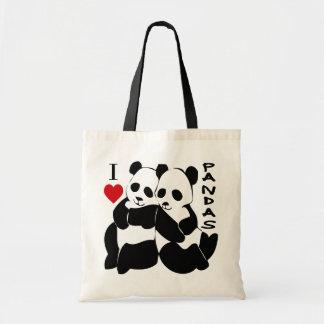 Amo pandas bolsa de mano