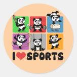 Amo pandas de los deportes etiquetas redondas