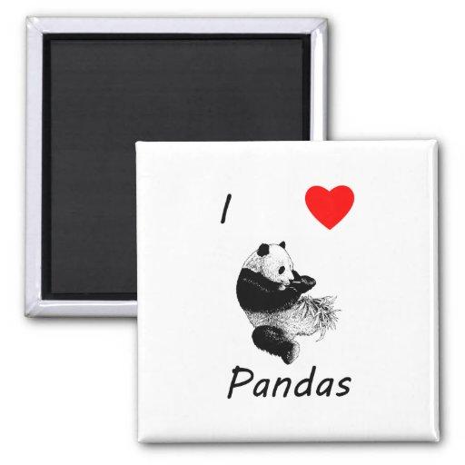 Amo pandas imán cuadrado