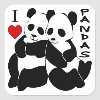 Amo pandas pegatina cuadradas