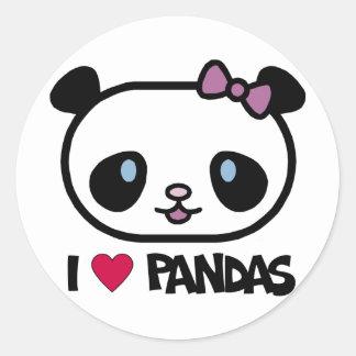Amo pandas pegatina redonda